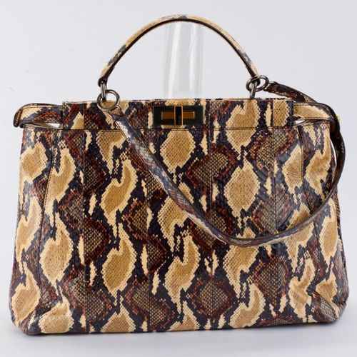 """""""Peakaboo"""" snake bag, double pocket on both sides of main handle with clasp, whi…"""