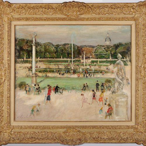André HAMBOURG 1909 1999  LE LUXEMBOURG AU PRINTEMPS  Huile sur toile signée en …