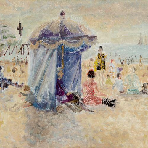 André HAMBOURG 1909 1999  LA PLAGE AU SOLEIL  Huile sur toile signée en bas à ga…