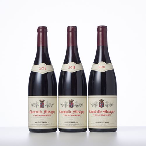 3 Bouteilles CHAMBOLLE MUSIGNY LES GRUENCHERS (1° Cru)  Année : 2011  Appellatio…