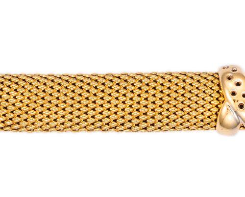 Bracelet maille souple en or bicolore  L : 19,5 cm l : 1,3 cm  Pb : 37,29 g (18K…