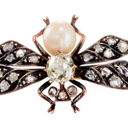 Broche d'époque en argent et or représentant une mouche, les ailes et la tête se…