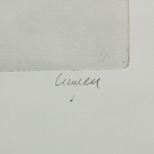 Ecole moderne  Composition (portrait de G. Bataille)  Eau forte signée (?) en ba…
