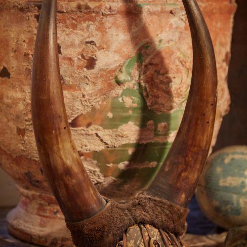 Chapeau cimier en peau et corne de Buffle Hourn, à décor de coquillages.  Travai…
