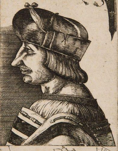 Daniel HOPFER (1470 1536) Portrait du roi François Ier Eau forte originale sur p…