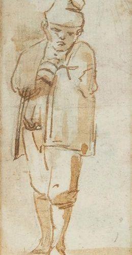Ecole Italienne du XVIIIe siècle Jeune garçon au bonnet Plume et encre (taches) …