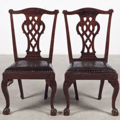 Pair of chairs made of mahogany wood and leather seat. Period: 19th century Size…
