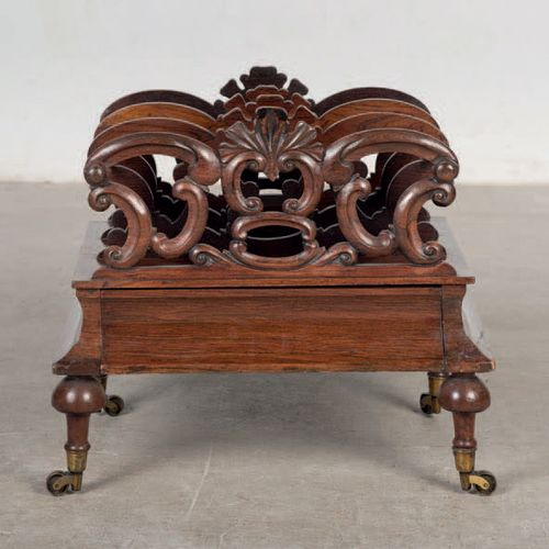 Magazine rack made of carved mahogany wood. Period: 19th century Sizes: 50x57x40…