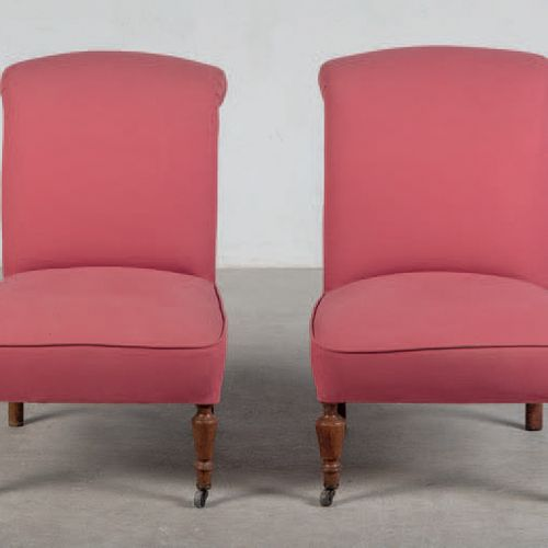Pair of armchairs with legs made of wood with bronze wheels. Victorian era. Engl…
