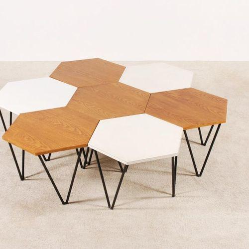 PONTI GIO (1891 1979) Ensemble de 7 tables basses Bois, mélaminé et métal I. S. …