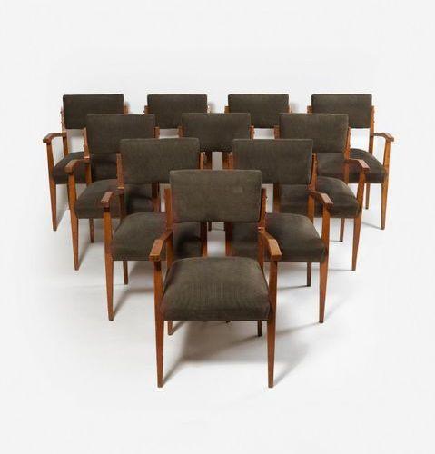 MINOTTI EZIO (XXe) Suite de 12 chaises Bois et tissu Date de création : vers 196…