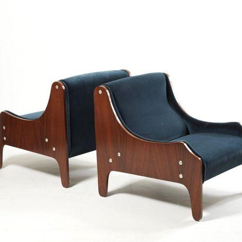 ZANUSO MARCO I. (1916 2001) Milord Paire de fauteuils Bois et tissu Edition Arfl…