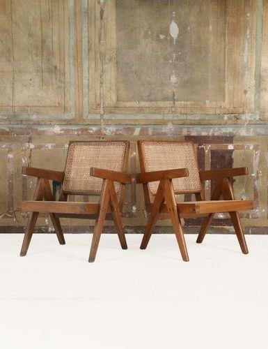 * JEANNERET PIERRE (1896 1967) Easy armchair Paire de fauteuils Teck et cannage …