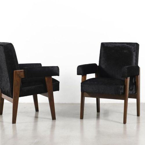 JEANNERET Pierre (1896 1967) Advocate Pair of armchairs Teak and hide Date of cr…
