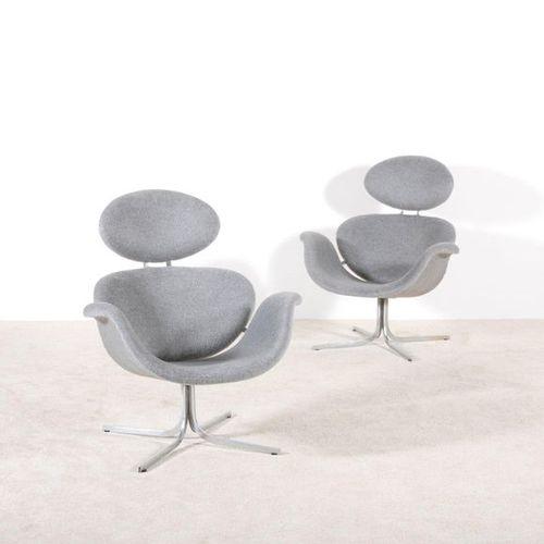 PAULIN PIERRE (1927 2009) Tulipe F551 Paire de fauteuils Laine de la maison Biss…