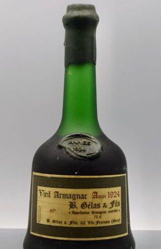 1 bottle ARMAGNAC B. Gelas 1924 (chipped wax seal) cb