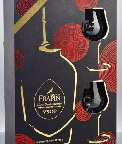 "1 COGNAC ""Grande Champagne"" boxed set, Frapin VSOP (with two glasses)"