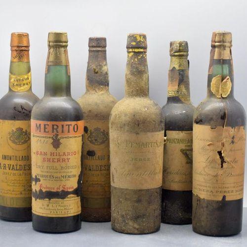 6 JEREZ bottles (2 Manzanillas, 1 San Hilario, 3 Amontillados, very old)