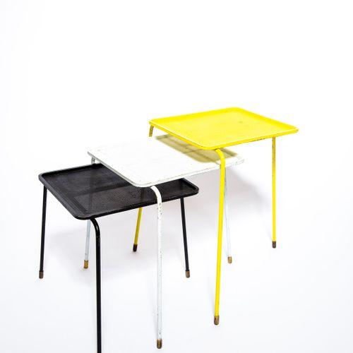 Mathieu MATÉGOT (1910 2001) Soumba Suite de 3 tables gigognes Metal, perforated …