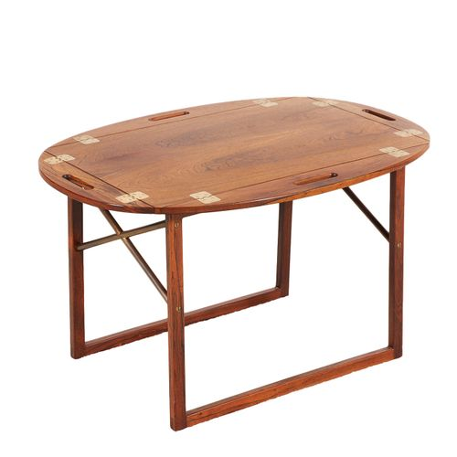 Svend Langkilde (XXe) Side table Rosewood and brass Edition Illums Bolighus Crea…