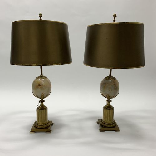 MAISON CHARLES Pair of lamps Golden bronze, brass and hard stone Date of creatio…