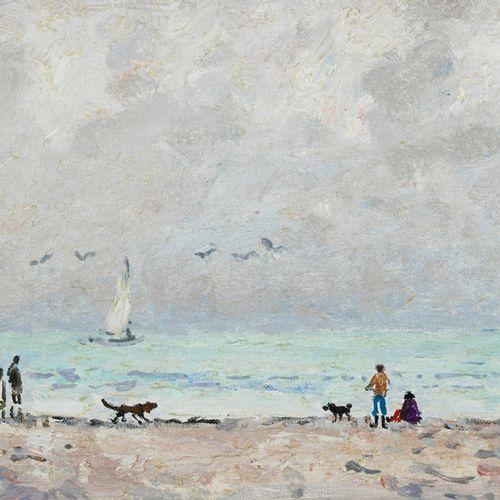 André HAMBOURG(1909 1999) SUR LA PLAGE EN FEVRIER, CIRCA 1974 Bord de plage Oil…
