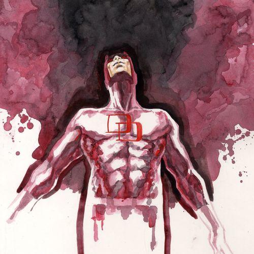 Mack, David Daredevil Illustration originale à l'aquarelle, signée en bas à droi…
