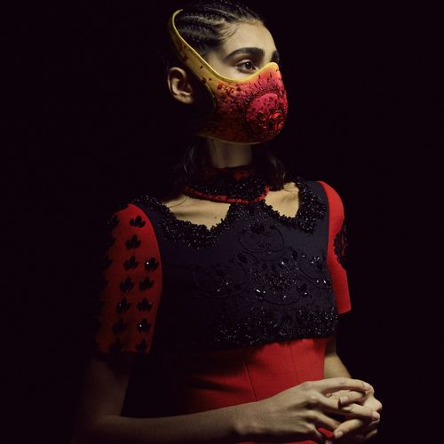 AOUADI x R PUR Embroidery: House VERMONT  BURNING HEART MASK, 2021  THERMO CONTR…