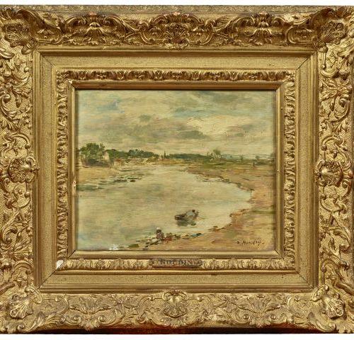 Eugène BOUDIN (1824 1898) Lavandière au bord de la Touques, près de Trouville Hu…