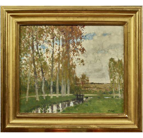 Pierre Eugène MONTEZIN (1874 1946)   Les peupliers.   Huile sur toile.   Signée …