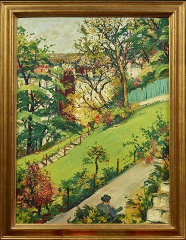 Elisée MACLET (1881 1962)   Vue d'un parc.   Huile sur panneau.   Signée en bas …