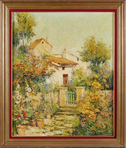 E. FLORIT (XXème)   Maison et jardin.   Huile sur toile.   Signée en bas à droit…