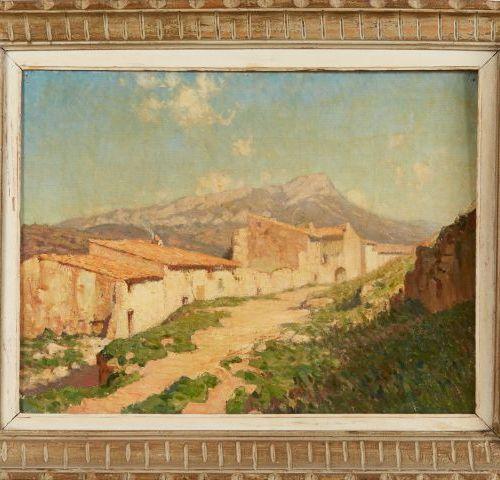 Ecole française du XXème siècle.   Village du sud de la France.   Huile sur toil…