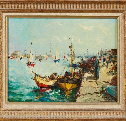 Louis Edouard GUARRIDO (1893 1982)   Port de Pêche.   Huile sur panneau.   Signé…