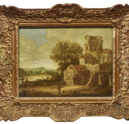 Ecole Flamande du XVIIIème siècle.   Paysage.   Peinture sur panneau.   Dimensio…