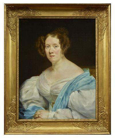 Georges ROUGET (Paris 1783 1869)   Portrait de dame en buste.   Huile sur toile …