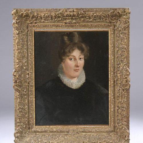 Ecole du XIXème siècle Portrait de femme au jabot Huile sur toile Cadre en bois …
