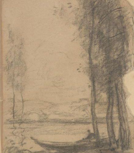 Ecole du XIXème siècle Barque en bord de rivière Crayon Non signé 25 x 17, 5 cm …