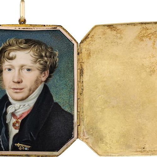 Rossi, Petr Osipovich Miniature portrait of a Russian officer with curly brown h…