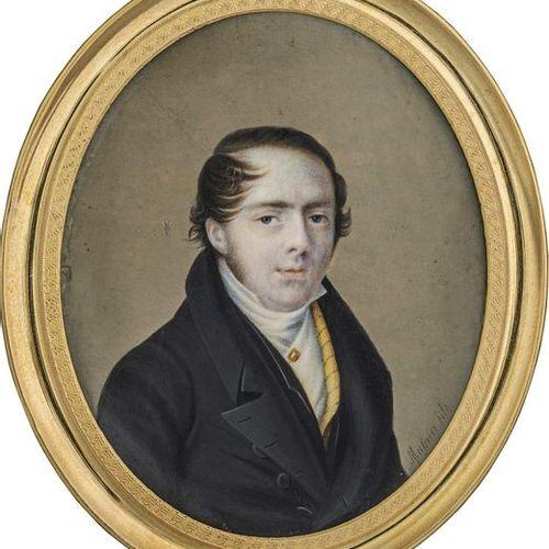 """Mulnier genannt """"Mulnier fils"""", Étienne Ferdinand Miniature portrait of a young …"""