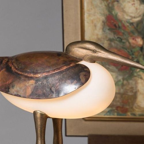 François Xavier LALANNE (French, 1927 2008) Wader lamp, circa 1990 in copper wit…