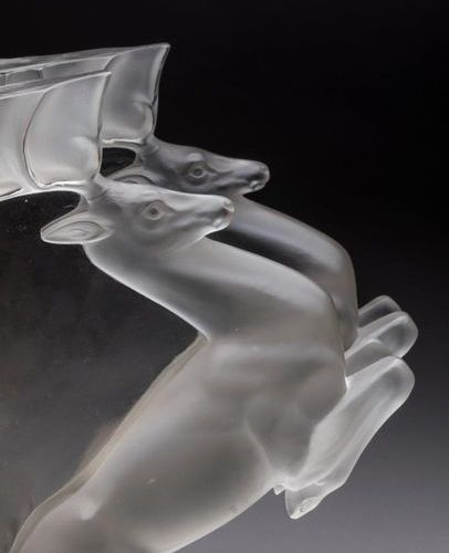 """LALIQUE """"Stag"""" console made of moulded pressed glass. Stags H. 26, W. 19 cm. Tra…"""