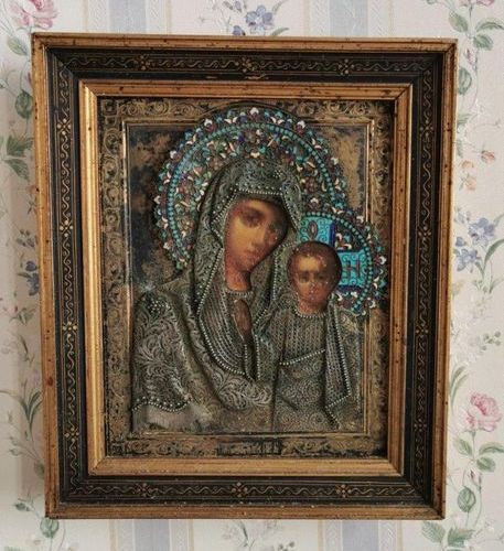 ICON. CHRIST blessing and VIRGIN of tenderness. Pair of oil on panel with a silv…
