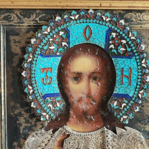 ICONE. CHRIST bénissant et VIERGE de tendresse. Paire huile sur panneau avec une…