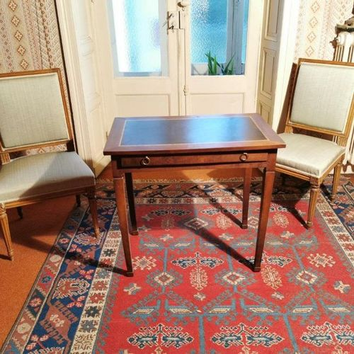 Small OFFICE in mahogany stained wood resting on four sheathed legs. Green leath…