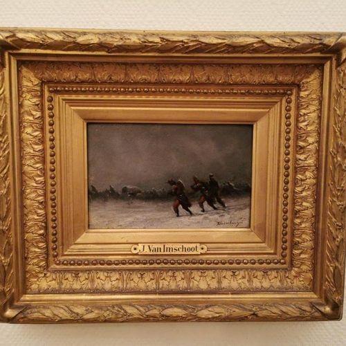 Jules VAN IMSHOOT (1821 1884) Retour de troupe sous la neige, ou Les volontaires…