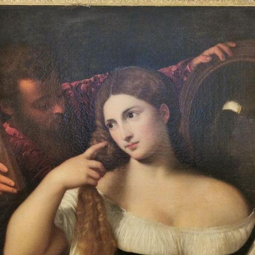 École du XVIIIe, d'après Tiziano VECELLIO dit TITIEN (1490 1576) La femme au mir…