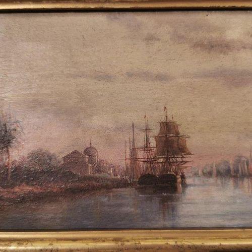 École FRANCAISE du XIXe, dans le goût de Félix Ziem. Scène de port fluvial. Pann…