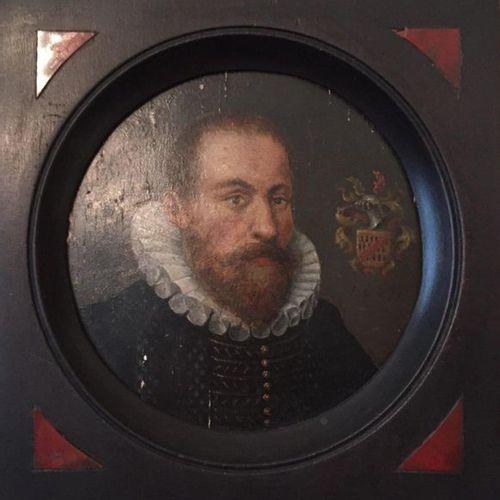 À la façon de l'école FRANÇAISE du XVIe. Portrait d'homme à la fraise. Panneau. …