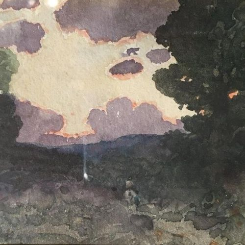 Henri Joseph HARPIGNIES (1819 1916) Landscape on horseback, 1898 Watercolour. Si…